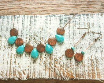 Turquoise drops and wood jewelry set