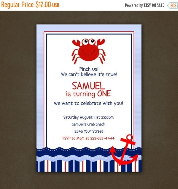 SALE Crab Beach Birthday Party Invitations, Printable File, Anchor