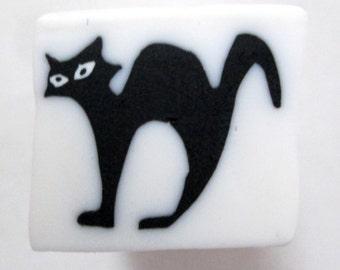 Polymer Clay Black Cat Cane, Millefiori Cane, Unbaked Cane, Nail Art, FIMO, Polymer Clay Cane, Cat Cane