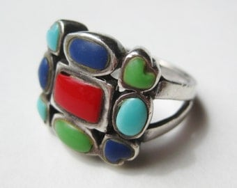 Vintage Ring Exotic Turquoise Coral Lapis Lazuli Sterling Silver Cocktail Ring size 7 1/2