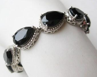 Vintage Heavy Sterling Silver Black Onyx Panel Link Bracelet