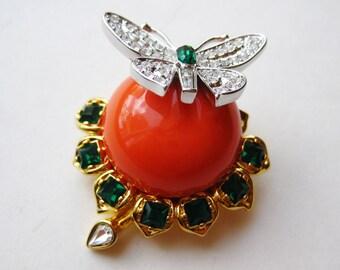 Vintage KJL Kenneth Jay Lane Duchess of Windsor Butterfly Rhinestone Brooch Pin