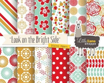 Digital Paper, Floral Digital Paper, Colorful Digital Paper, Red Turquoise & Yellow, Digital Scrapbook Paper, Commercial Use