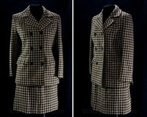 Size 2 Tweed Suit - XS Small 1960s Double Breasted Jacket & Mod Mini Skirt- Girl Friday - Brown Taupe Houndstooth Fleck - Waist 24 - 46779