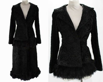 Size 6 1930s Fur Coat - Rare 30s Black Sheared Lamb Jacket with Zip-Away Hem - Feather Trim & Convertible Length - Bust 34 - 47105