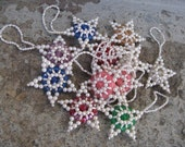 vintage beaded stars christmas tree ornaments set of 11 multi colored victorian style grannie chic