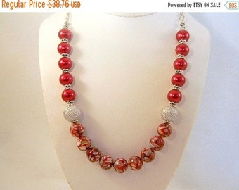 On Sale Red Pearl Necklace, Pearl Necklace, Mother of Pearl Necklace, Burgandy Necklace