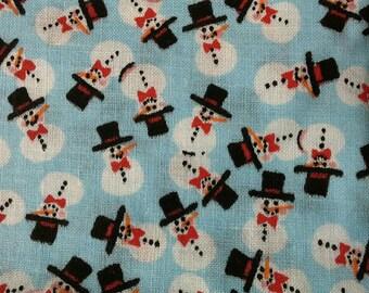 Tiny Snowmen on Light Blue Background Christmas Print Cotton Fabric 1 Yard X0503