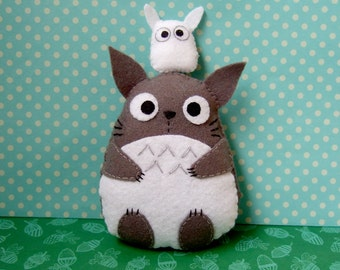 very cute big totoro felt plushie and small white totoro plush