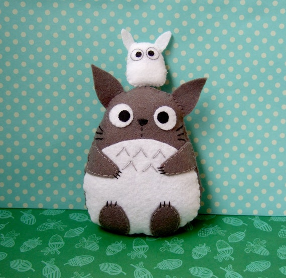 very cute big totoro felt plushie and small white by yael360