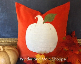Neutral Pumpkin Decorative Pillow Cover- Deep Orange and Metallic Embroidery