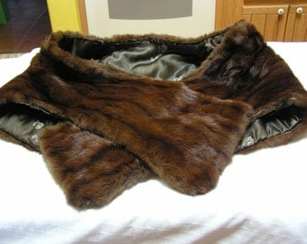 Gorgeous dark brown mink satin lining Fair labor standards label stole wrap