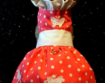 Coral Polka Dots with Ruffles and Butterflies Dog Harness Dress  XXXS-XXS-XS-S-M
