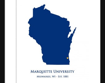 Marquette University - Wisconsin Map - Print Poster