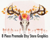 Premade Customized Etsy Shop Graphics- Banner, Shop Icon, Shop Profile, Custom Listing - Western, Flowers, Deer, Orange, Yellow, Leaves