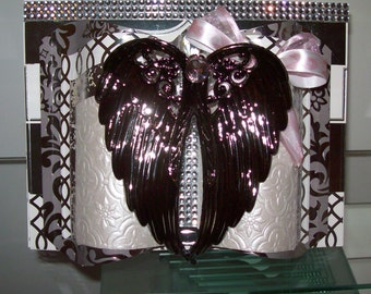 Angel Wings Cancer Support Greeting Card - 3D Embellished and Crafted by Hand