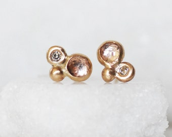 Diamond Topaz Post Earrings - 14k gold Bubble Post Earrings - Diamond Post Earrings