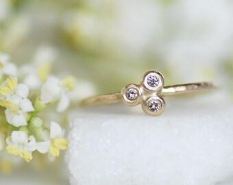 Diamond Seed Pod Stacking Ring - Gold Botanical Stacking Ring - Thin Gold Stacking Ring