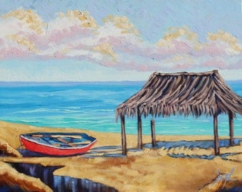 La Jolla Beach, The Hut, Boat, Ocean Painting, Boat Painting, Original Art, Oil Painting on Canvas by Rebecca Beal