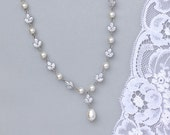 Crystal and Pearl Necklace,  Bridal Necklace, Crystal Bridal Jewelry, Pearl Wedding Necklace, HAYLEY 2