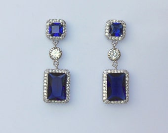Sapphire Blue Bridal Earrings, Sapphire Crystal Earrings, Something Blue, Wedding Jewelry, Blue Bridesmaids Earrings, EMILIA Blue