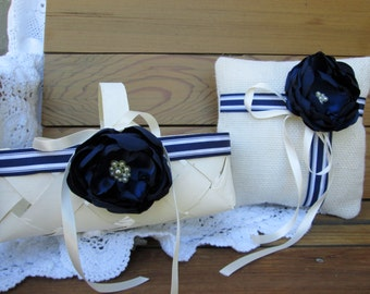 Rustic Flower girl basket and ring bearer pillow set. Navy and ivory Burlap wedding. Shabby chic wedding accessory.
