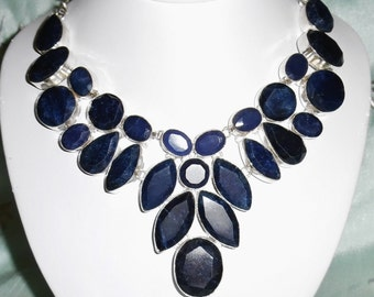 Blue Sapphire gemstones, solid sterling silver Necklace