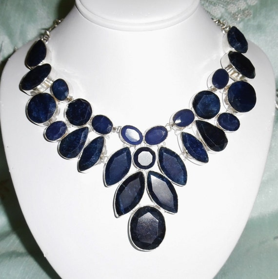 CLEARANCE, Natural Blue Sapphire earth mined gemstones, solid sterling silver Necklace