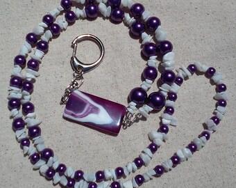 Purple and White Lanyard