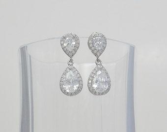 Bridal Cubic Zirconia Tear Drop Earrings, Wedding Jewelry, Stud Earrings, Silver or Rose Gold Tone, Lauren - Will Ship in 1-3 Business Days