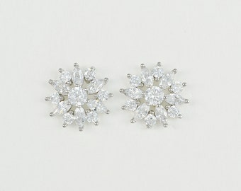 Cubic Zirconia Stud Earrings, Bridal Jewelry, Ramona - Ships in 1-3 Business Days