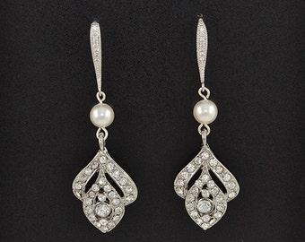 Bridal Crystal Earrings, Swarovski Pearls, Cubic Zirconia Ear Wires, Vintage Style, Rita - Ships in 1-3 Business Days