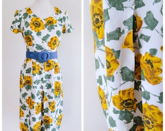 1950s White & yellow rose print rayon dress / 50s printed day dress - S M