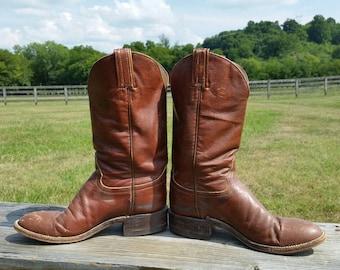 Brown Hondo Roper Vintage Cowboy Boots Size 5B