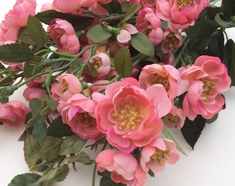 Pink Wild Rose Bush - 48 Flowers - Flower Crown, Halo, Wedding Flowers, Artificial Flower, Silk Flowers