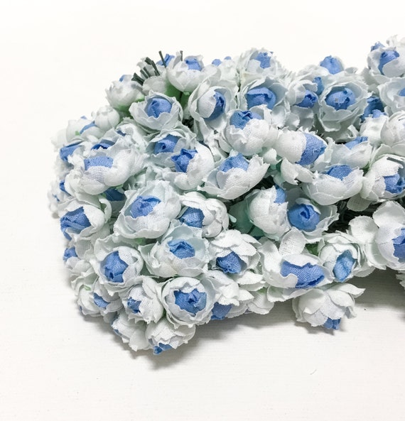 Artificial Flowers - 144 Small Roses in Blue and White - VERY SMALL FLOWERS - Flower Picks