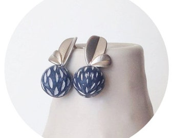 Minimalist plated leaf and hand sculped polymer clay post earrings
