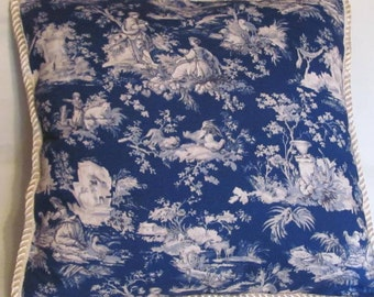 French Country Romantic Cottage Pillow Blue Ivory Provence Toile Waverly