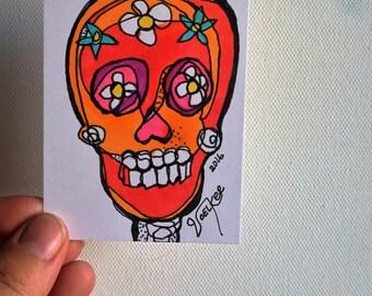 Carrot Sugar Skull - Original ACEO drawing