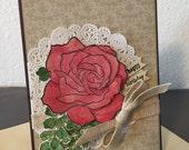Red Rose Handmade Birthday Card