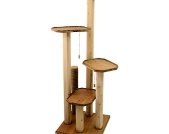 Cat Tree Furniture - Solid Cherry Wood Cat Tree with Cedar Posts - Cat Condo - Cat Furniture - Modern Cat