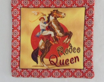Mug Mat Mug Rug Table Topper Table Mat Fabric Hot Plate House Gift Serving Mat Southwest Design Hot Pad Rodeo Queen