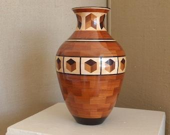 Handmade Wood Vessel Segmented Wood Vase  Wedding Gift  Handmade Wood Vessel Handcrafted Vase Exotic Wood One of a Kind Creation