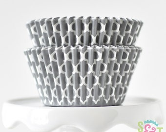 Quatrefoil Gray GREASEPROOF Cupcake Liners BakeBright Baking Cups | ~30 count