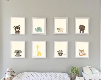 Baby Animal Nursery Art, Nursery Prints, Zoo Nursery Wall Art, Baby Wall Art, Gender Neutral Nursery Decor, Baby Girl Baby Boy, Baby Gift