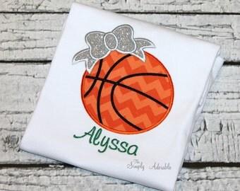 Girl's Basketball Shirt, Basketball Shirt, Personalized Basketball Shirt, Basketball with Bow, Personalize with your team Colors