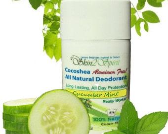 CUCUMBER & MINT Organic Solid Deodorant - All Natural - Aluminum Free - Gluten Free - No Synthetic Fragrances - 3 oz