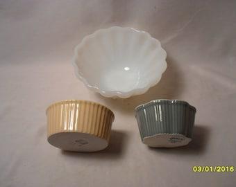 Lot of 3 Mixed Kitchen Hall China Company Ramekins Milk Glass Bowl with Star Bottom