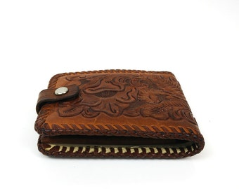 Vintage Bifold Tooled Leather Wallet