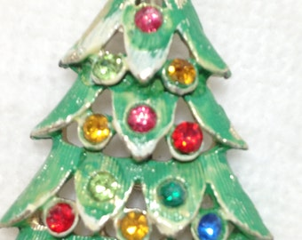 Green Christmas Tree Brooch with Colored Rhinestones